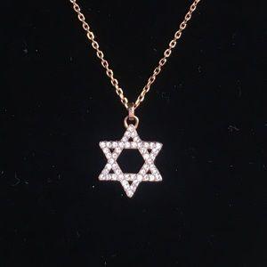 Michael Kors rose gold Star of David necklace set